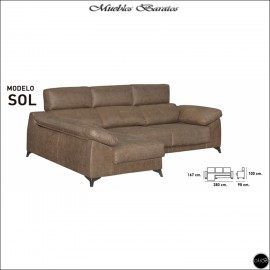 Chaiselongue en oferta ref-14 280 cms VARIOS COLORES DISPONIBLES