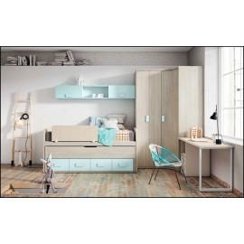 Dormitorio juvenil completo COMPOSICION-112