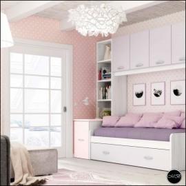 Dormitorio juvenil completo composicion ref-10