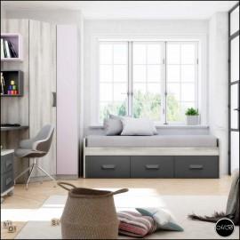 Dormitorio juvenil completo composicion ref-11