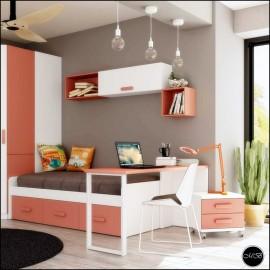 Dormitorio juvenil completo composicion ref-12