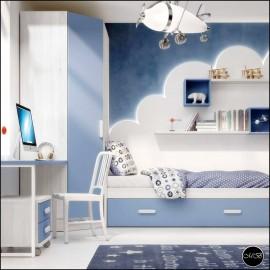 Dormitorio juvenil completo composicion ref-13