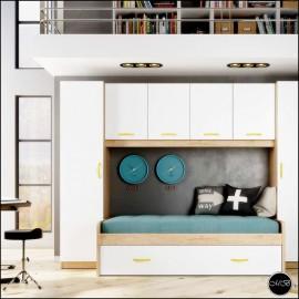 Dormitorio juvenil completo composicion ref-15