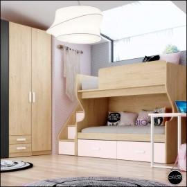 Dormitorio juvenil completo composicion ref-28