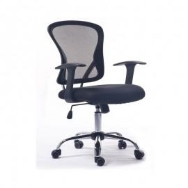 Silla oficina LOT, brazos, malla y tejido negro