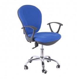Silla oficina RIMINI, brazos, gas, contacto permanente, tejido azul