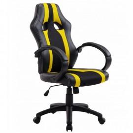 Sillón de oficina SILVERSTONE, alto, gas, basculante, similpiel negra, tejido amarillo