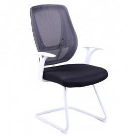 Sillón de oficina ULRIK, fijo, blanco, malla y tejido negro