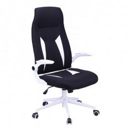 Sillón de oficina WORLD, alto, gas, basculante, tejido negro con blanco