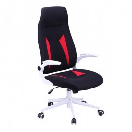 Sillón de oficina WORLD, alto, gas, basculante, tejido negro con rojo