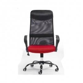 Sillón de oficina GINO ( U ), malla negra y tejido mesh rojo