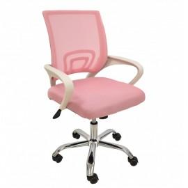 Sillón de oficina FISS NEW, blanco, gas, basculante, malla y tejido rosa