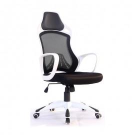 Sillón de oficina KELLY, blanco, gas, basculante, malla y tejido negro