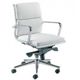 Sillón de oficina MISURI, - versión 08 -, similpiel blanca x2 uds