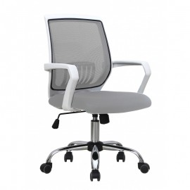 Sillón oficina AGNEL, blanco, gas, basculante, malla y tejido gris