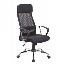 Sillón de oficina CORINTO, alto, gas, basculante, malla y asiento negro