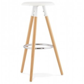 Taburete OTILIO, madera, asiento blanco