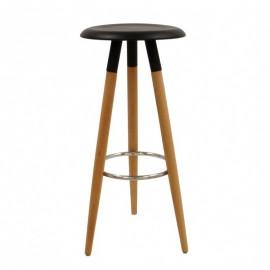 Taburete OTILIO, madera, asiento negro