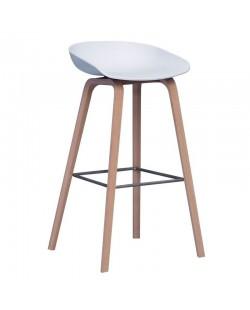 Taburete AWAK, madera, asiento blanco