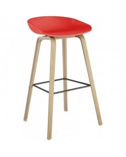 Taburete AWAK, madera, asiento rojo