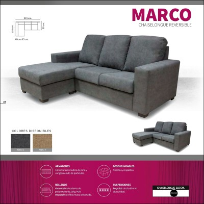 Sofa chaiselongue alta gama 215 cms ref-16