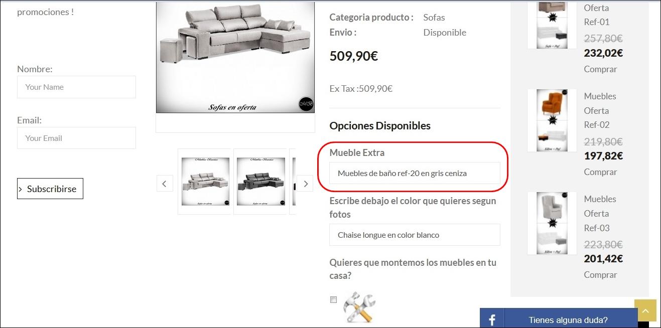 instrucciones como elegir mueble extra 1 euro